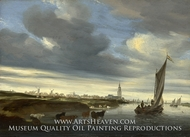 A View of Rhenen seen from the West by Salomon Van Ruysdael
