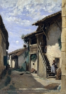 A Village Steeet, Dardagny painting reproduction, Jean-Baptiste Camille Corot