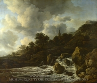 A Waterfall at the Foot of a Hill near a Village painting reproduction, Jacob Van Ruisdael