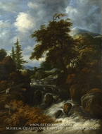 A Waterfall by a Cottage in a Hilly Landscape by Salomon Van Ruysdael