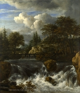 A Waterfall in a Rocky Landscape painting reproduction, Jacob Van Ruisdael
