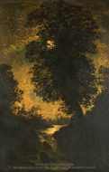A Waterfall, Moonlight painting reproduction, Ralph Albert Blakelock
