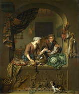 A Woman and a Fish-Pedlar in a Kitchen painting reproduction, Willem Van Mieris