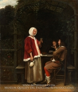 A Woman and Two Men in an Arbor painting reproduction, Pieter De Hooch