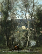 A Woman Gathering Faggots at Ville-d'Avray painting reproduction, Jean-Baptiste Camille Corot