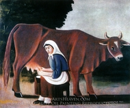 A Woman Milking a Cow painting reproduction, Niko Pirosmani