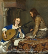 A Woman Playing the Theorbo-Lute and a Cavalier painting reproduction, Gerard Ter Borch