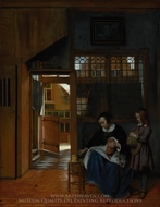 A Woman Preparing Bread and Butter for a Boy painting reproduction, Pieter De Hooch