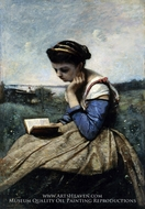 A Woman Reading painting reproduction, Jean-Baptiste Camille Corot