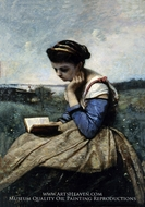 A Woman Reading by Jean-Baptiste Camille Corot