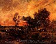 A Wooded Landscape at Sunset with a Faggot Gatherer painting reproduction, Theodore Rousseau