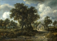 A Woody Landscape painting reproduction, Meindert Hobbema