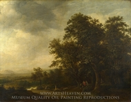 A Woody Landscape with a Stag Hunt painting reproduction, Jan De Lagoor