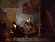 A Wool Spinner and His Wife painting reproduction, Quiringh Van Brekelenkam