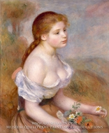A Young Girl with Daisies by Pierre-Auguste Renoir