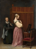 A Young Woman at Her Toilet with a Maid by Gerard Ter Borch