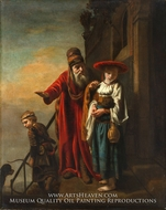 Abraham Dismissing Hagar and Ishmael painting reproduction, Nicolaes Maes