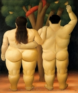 Adam and Eve painting reproduction, Fernando Botero