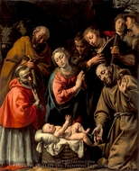 Adoration of the Shepherds with Saints Francis and Carlo Borromeo painting reproduction, Antonio d'Enrico