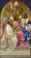 Adoring Saints, Left Main Tier Panel painting reproduction, Lorenzo Monaco