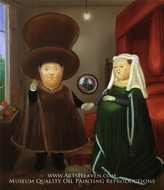 After the Arnolfini Van Eyck painting reproduction, Fernando Botero