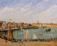 Afternoon Sun, the Inner Harbor, Dieppe painting reproduction, Camille Pissarro