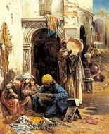 An Arab Bazaar painting reproduction, Eugene Pavy