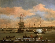 An English Merchant Ship in a Mediterranean Harbour in a Light Breeze with Many Other Vessels by Willem Van De Velde, The Younger