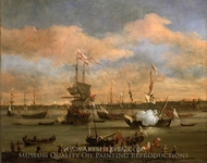 An English Merchant Ship in a Mediterranean Harbour in a Light Breeze with Many Other Vessels painting reproduction, Willem Van De Velde, The Younger