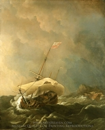 An English Ship in a Gale Trying to Claw off a Lee Shore painting reproduction, Willem Van De Velde, The Younger