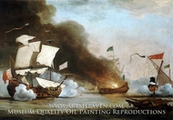 An English Ship in Action with Barbary Corsairs by Willem Van De Velde, The Younger