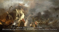 An English Ship in Action with Barbary Vessels by Willem Van De Velde, The Younger