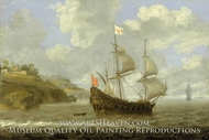 An English Ship Leaving the Coast painting reproduction, Tobias Flessiers