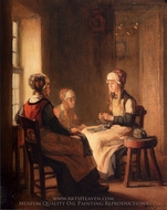 An Interior with Marken Girls Knitting painting reproduction, Claude Joseph Bail