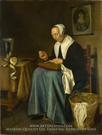 An Old Woman Seated Sewing painting reproduction, Johannes Van Der Aack