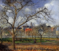An Orchard in Pontoise in Winter painting reproduction, Camille Pissarro