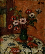 Anemones on a Flowered Tablecloth painting reproduction, Georges D'Espagnat