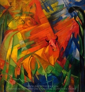 Animals in a Landscape painting reproduction, Franz Marc