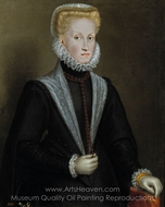 Anne of Australia, Queen of Spain, Wife of Philip II of Spain painting reproduction, Sofonisba Anguissola