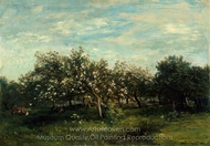 Apple Blossoms painting reproduction, Charles Daubigny