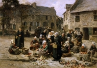 Apple Market, Landerneau, Brittany painting reproduction, Leon-Augustin L'Hermitte