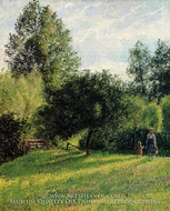 Apple Trees, Sunset, Eragny painting reproduction, Camille Pissarro