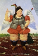 Archangel painting reproduction, Fernando Botero