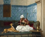 Arnaut Blowing Smoke at the Nose of His Dog painting reproduction, Jean-Leon Gerome
