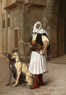 Arnaut Whippets with Two Dogs painting reproduction, Jean-Leon Gerome