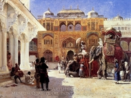Arrival of Prince Humbert the Rajah at the Palace of Amber painting reproduction, Edwin Lord Weeks