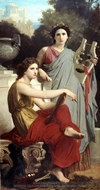 Art and Literature (L'art et la Litterature) painting reproduction, William Adolphe Bouguereau