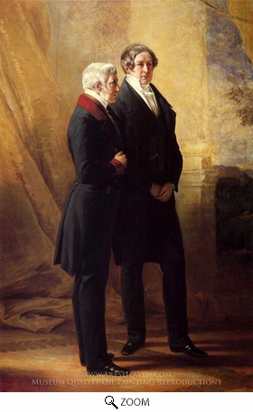 Painting Reproduction of Arthur Wellesley, 1st Duke of Wellington with Sir Robert Peel, Franz Xavier Winterhalter