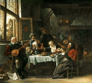 As the Old Ones Sing, So the Young Ones Pipe painting reproduction, Jan Steen