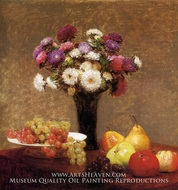 Asters and Fruit on a Table by Henri Fantin-Latour